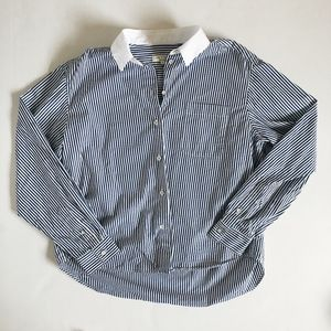 Rag & Bone Blue and white striped button up